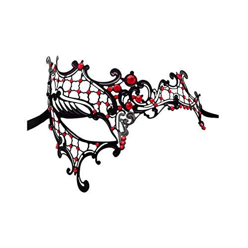 ANGAZURE-DE Metall-Maske Rot Augenmaske Venedig Kostüm Maskenball Eisenmaske Katzenkopf Halloween, Party, Maskerade, Festliche Maske,Red (Kostüm Für Den Maskenball)