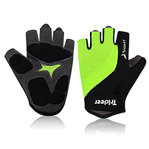 Trideer Light Cycling Biking Glove Gym Glove, Fitness Bodybuilding Exercise Gloves for Sports - Breathable Microfiber Lycra Material and Silica Gel Grip Anti-slip Glove for Road Racing Bicycle - Half & Full Finger Gloves for Men, Women, Ladies, Female (Pair)