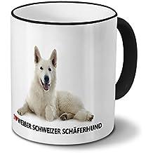 Hundetasse Weißer Schweizer Schäferhund - Tasse mit Hundebild Weißer Schweizer Schäferhund - Becher Schwarz