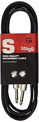 Stagg SGC3DL 3m/10 ft Deluxe Standard Guitar Cable - Black