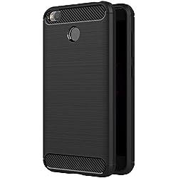 AICEK Coque Xiaomi Redmi 4X, Noir Silicone Coque pour Xiaomi Redmi 4X Housse Fibre de Carbone Etui Case