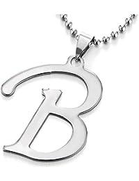 8c043a42ab iMETACLII Grande Nome Iniziale Lettera di Alfabeto A-Z Ciondolo, Collana con  Pendente da Donna Uomo,…
