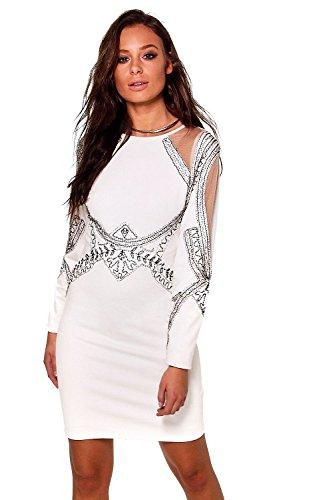 Elfenbein Damen Boutique Michi Verziertes Kleid Mit Netzeinsatz Elfenbein