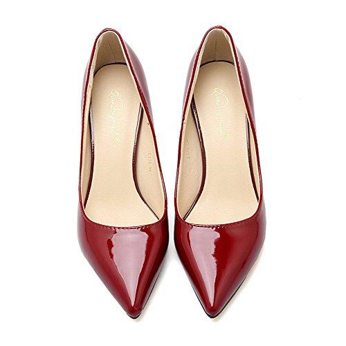 AalarDom Femme Pu Cuir Couleur Unie à Talon Correct Pointu Chaussures Légeres Rouge Vineux-Pu Cuir
