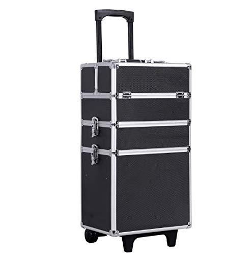SONGMICS Trolley make up Kosmetikkoffer Aluminium Friseurkoffer XXL Größe Schminkkoffer leer Hartschale für Gepäck 4 in 1 Multikoffer, Schwarz JHZ01B