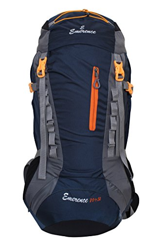 Emerence 1021 Rucksack, Hiking Backpack 75Lts (Navy Blue) With Rain Cover and Laptop Compartment