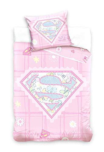 Supergirl Bettwäsche, Babybettwäsche; rosa; Bettbezug: 100 cm x 135 cm, Kopfkissenbezug: 40 cm x 60 cm; 100{c55f0dfa81a3232677f83fde7d5683e51f8b3d2dfc590196e103b24f320303cb} Baumwolle; Superman, Kinderbettwäsche, Wendebettwäsche