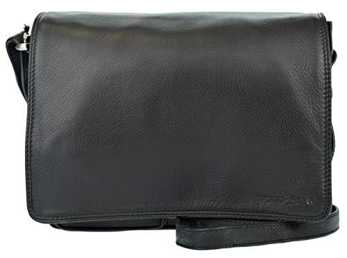 Schwarze Messenger Bag (WOOD BAG Tasche Damentasche Umhängetasche Damen Leder klein Echtleder Rindleder Schultertasche Messenger Bag WBS10 (Schwarz))