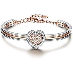 """J.NINA """"Cupid Corazón"""" Pulsera Chapada en Oro Rosa fabricados con cristales SWAROVSKI®"""