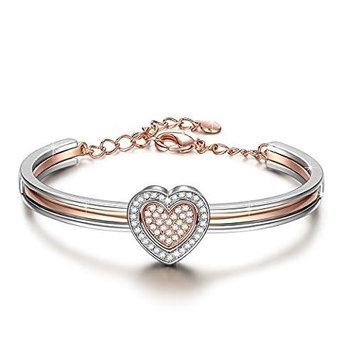 J.NINA Armband Damen mit kristallen von Swarovski Rose-Gold Herz Schmuck Geschenk Geburtstagsgeschenke Weihnachtsgeschenke Valentinstag Muttertag (Madri Cuore Collana)