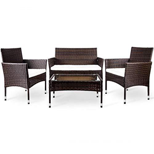 Beistelltisch 4 PC Set gepolsterte Sitz Wicker Sofa Lazy Outdoor Garten Rattan Patio Möbel -