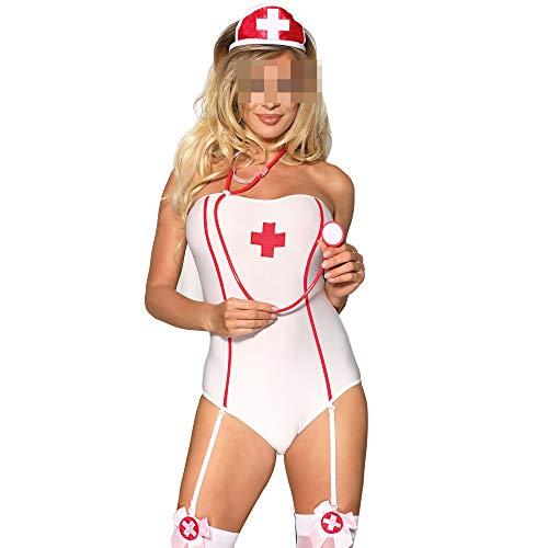 YSYW Frauen Sex Anzug Sexy Krankenschwester Kostüme Für Frauen Naughty Nurse Outfit Dessous Plus Size Minirock BH Und Panty Set,OneColor-XXXL