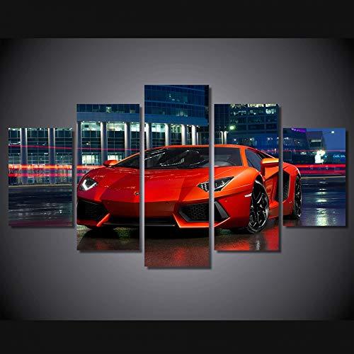 bonniegj Modular Poster Wandkunst Leinwand HD Gedruckt Bilder 5 Stücke Rot Sportwagen Malerei Moderne Wohnzimmer Wohnkultur Eingerahmt -