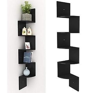 AIMADO Eckregal Zickzackregal Hängeregal Schweberegal mit 5 Regalböden Büroregal Bücherregal Raumteiler Wandablage Wandboard Schwarz/weiß