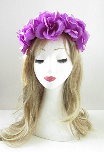 Grande fleur rose violet cheveux Bandeau Couronne Guirlande COACHELLA Festival Big 35 * * * * * * * * exclusivement vendu par – Beauté * * * * * * * *