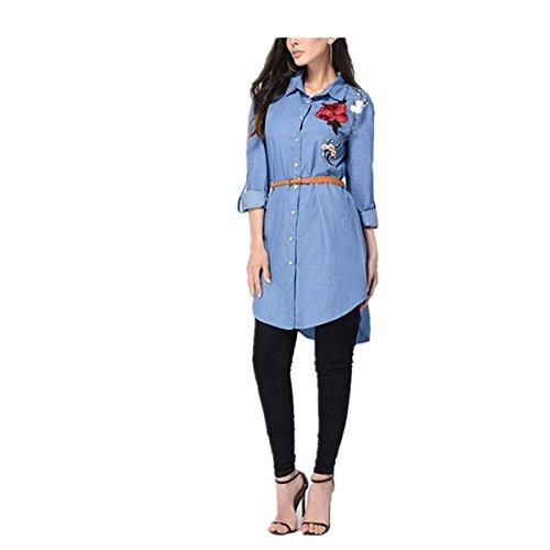 Nuovo camicia rcamata manica lunga koly le camice lunghe del collare del vestito dalla camicia del collare ricamano le donne lunghe del manicotto rosa (m, blue)