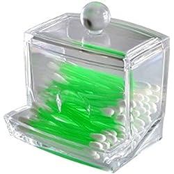 Hosaire Boite à Coton Tige en Acrylique Fonctionnel Boîte de Rangement pour Coton Tiges Cure-dent Coton Transparent Tiges Holder (sans cotons-tiges)