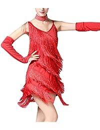 zhxinashu Vestido de Baile Latino con Flecos - Traje de Camisola para Mujer de Lentejuelas Ropa