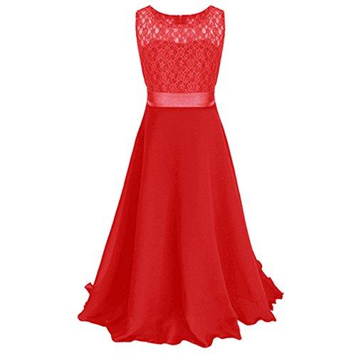 LSERVER-Festliches Mädchen Kleider Lange Brautjungfern Kleider Festlich Hochzeit Party Prinzessin Kleid Blumenmädchen (Kinder Kleid Rot)