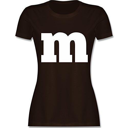 Karneval & Fasching - Gruppen-Kostüm m Aufdruck - L - Braun - L191 - Damen T-Shirt Rundhals