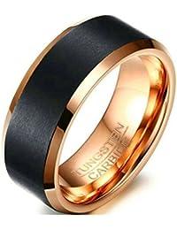 1 Schwarz Gravur Love Herren Ring Edelstahlring Eheringe Trauringe 20.7mm