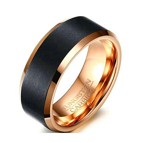 Jiedeng Schmuck Unisex Ringe aus Wolframcarbid Ring mit Einfacher Stil Partnerringe Verlobungsringe Ehering Trauringe für Damen-Ring, Herren-Ring Schwarz Rose Gold Größe 60 (19.1) (David Yurman Stil Ring)