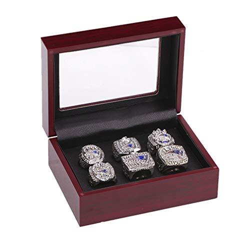 WANZIJING 6 PC-Ringe des männlichen Sets, New England Patriots Meisterschaft Replik Ringe Super Bowl Ringgröße 9-14 Vatertag,14