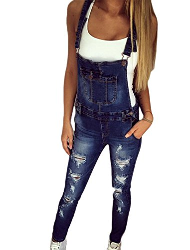 Frauen zerrissen Slim Fit Stretch Denim Latzhose Shorts Overall Casual Overall Playsuit