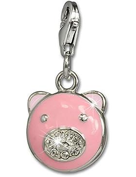 SilberDream Charm Glücks-Schweinchen 925 Sterling Silber Charms Anhänger für Armband Kette Ohrring FC665