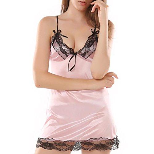 Mode Damen Negligees FORH Frauen Reizvolle Crop Top V-Ausschnitt Unterwäsche Chic Spitze Design Nachthemd Dessous Uniformen Versuchung Unterwäsche Plus Größe (XXXL, Rosa)