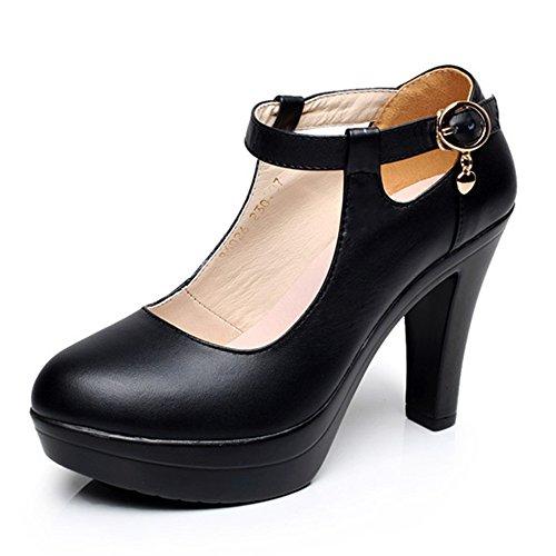 YR-R Damenschuhe Elegante Extreme Heel Plattform Heels Arbeitsschuhe Für Damen Club Mary Jane Pumps,Black-EU:40/UK:7