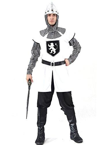 Kostüm Ritter Tapferer - KULTFAKTOR GmbH Tapferer Ritter-Kostüm Mittelalter Weiss-grau-schwarz L