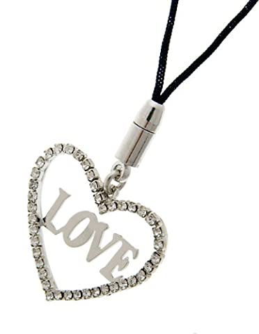 Love Hearts Mobile Phone & Bag Charm, Clear Diamond Swarovski Crystals - Gold, Janeo Jewels