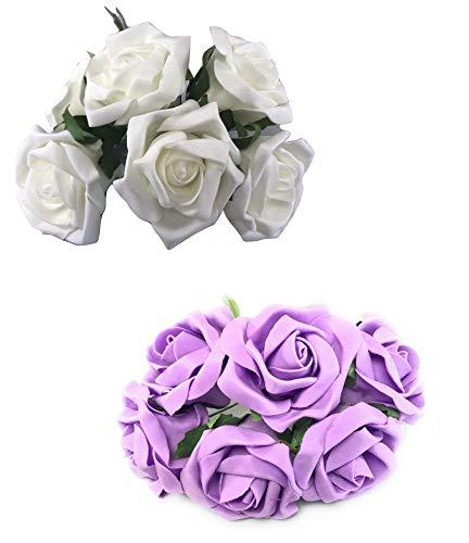 INERRA Künstliche Rosen, 2 Farben, 6 Blüten pro Strauß - farbecht, Nicht laufend, elfenbeinfarben und fliederfarben