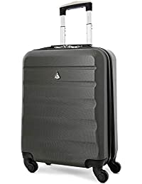 Aerolite 55x40x20 Ryanair Maximum Allowance 40L Lightweight Hard Shell Carry On Hand Cabin Luggage Suitcase with 4 Wheels, British Airways, Jet2 and More (Charcoal)