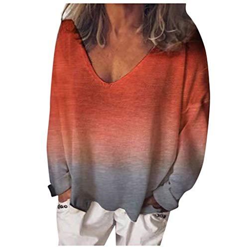 Tohole Damen Langarm Pullover Sweatshirts Farbverlauf Kontrastfarbe Casual Rundhals Oversize Langarmshirt Tunika Casual T-Shirt V-Ausschnitt Tops Bluse (rot,XXL)