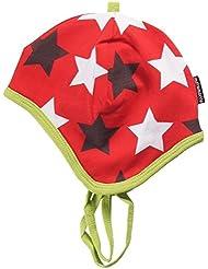 Maxomorra - Babymütze zum Binden - Biobaumwolle mit Velour gefüttert - Stars red