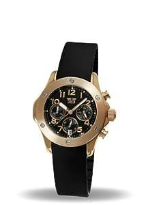 Davis - Montre Femme Or rose Sport Mode - Chronographe Etanche 50M - Bracelet Rubber Noir