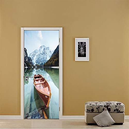 Tür tapete Boot Selbstklebend Wasserdicht Wandbild Abnehmbar Türposter Heimtextilien PVC 77x200cm Halk Boot