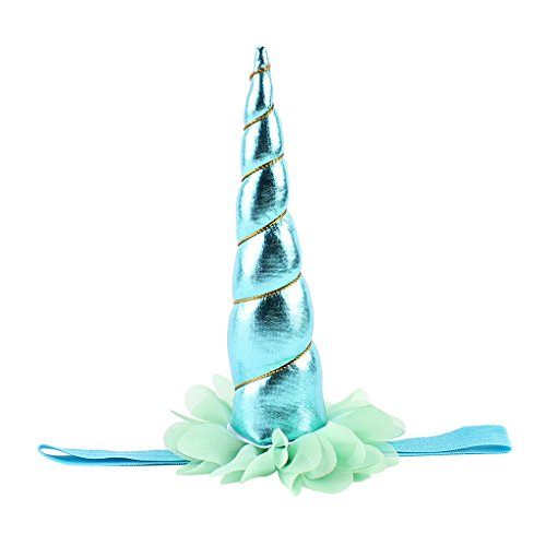 IPOTCH Mädchen Einhorn Kopfbedeckung Horn Haarband Stirnband Kostüm Haarschmuck Haarreif Haare Zubehör Geschenk - Blau