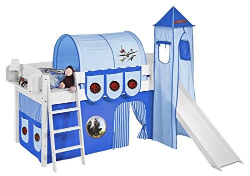 Lilokids Set Angebot - Spielbett IDA 4105 Dragons Blau mit Rutsche - Teilbares Systemhochbett Weiß - mit Vorhang, Turm, Tunnel und Taschen