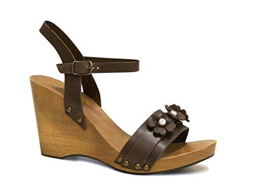 Sandali zeppa in legno e pelle di vitello marrone - Codice modello: 090 MARRONE - Taglia: 37 IT