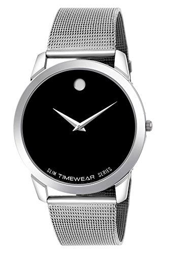 Timewear Formal Black Dial Stainless Steel Strap Slim Watch for Men