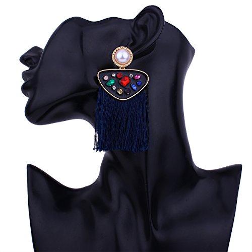 Fancy Diamond Perle Quaste Air Stud Ohrringe, 4# blau