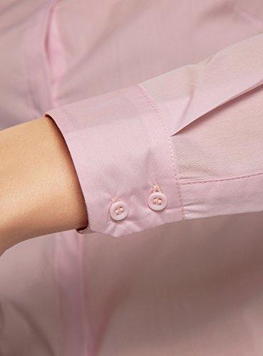 oodji Ultra Damen Taillierte Bluse Basic Rosa (4000N)