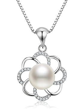 S.Vantine 925 Sterling Silber Halskette Perle AnHänger Blume Würfel-Zirkonia Kette
