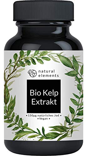 Bio Kelp Extrakt (Natürliches Jod) - 365 Tabletten mit je 150µg Jod aus Bio-Braunalgen - Ohne unerwünschte Zusätze - Hochdosiert, vegan und hergestellt in Deutschland -