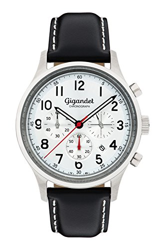 Gigandet Quarz Herren-Armbanduhr Efficiency Chronograph Uhr Datum Analog Lederarmband Schwarz Silber G50-002