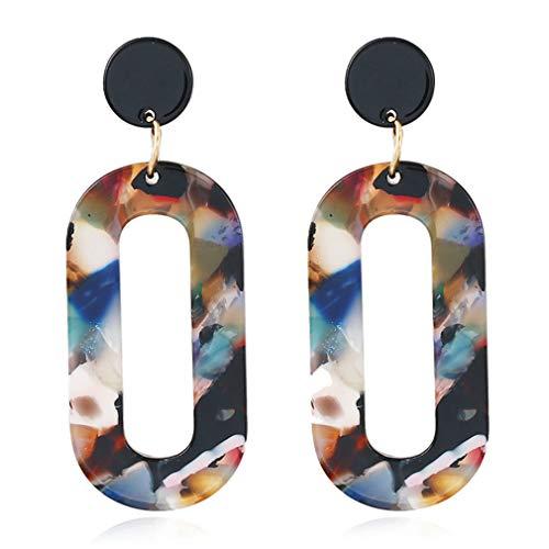 Acryl Oval (Yinew Acryl Ohrringe Oval Anhänger Cellulose Acetat Ohrringe Modeschmuck für Frauen Mädchen, Mischfarbe)