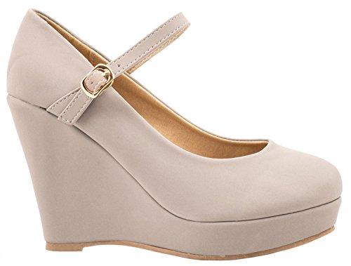 Elara chaussures Elara chaussures compensées femme Gris Gris femme compensées w6qxCnS